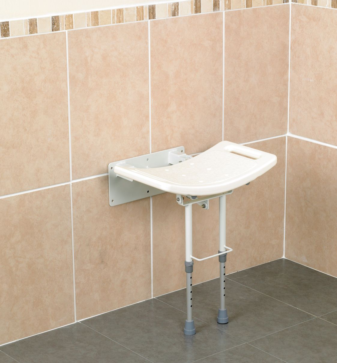 Shower Seat Wall Mounted With Adjustable Legs Aluminium